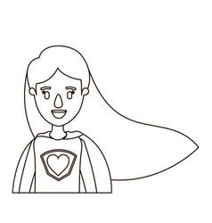 Sketch contour caricature half body super woman vector