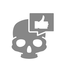 skull with thumb up in speech bubble grey icon vector image