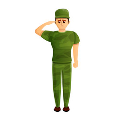 Soldier salute icon cartoon style vector
