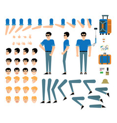 Tourist male character creation kit - isolated set vector