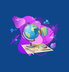 travel decoration globe and map geography vector image