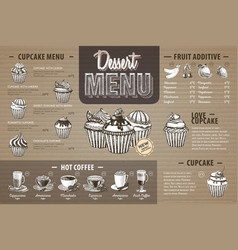 Vintage dessert menu design on cardboard vector