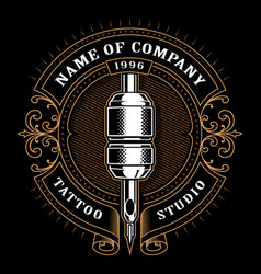 Vintage tattoo studio emblem 1 for dark background vector