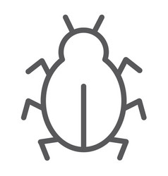 virus line icon security and internet bug vector image