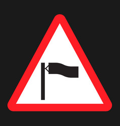Warning wind sign flat icon vector