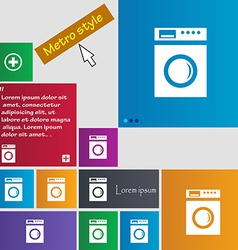 washing machine icon sign Metro style buttons vector image