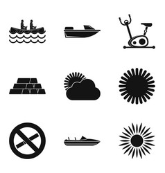 Water swim icons set simple style vector