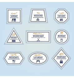 weekdays retro shapes stickers and icons set vector image