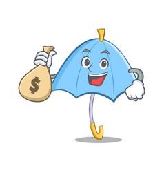 with money bag blue umbrella character cartoon vector image