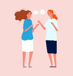 women talking girlfriends meeting cute flat vector image