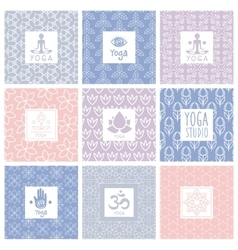 Yoga Icons on Decorative Background vector
