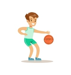 Boy Playing BasketballKid Practicing Different vector image vector image