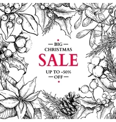Christmas sale banner in frame hand drawn vector