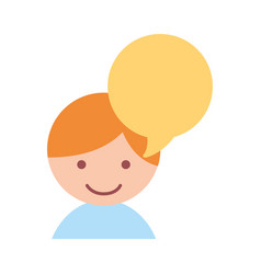 cute little boy with speech bubble vector image