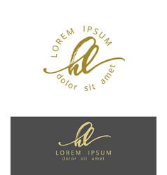 h l handdrawn brush monogram calligraphy logo vector image