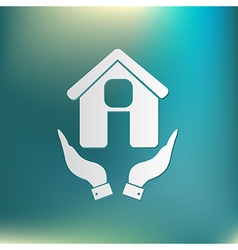 hand holding a House icon Home sign vector image vector image
