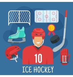Ice hockey symbol for winter sports games design vector image
