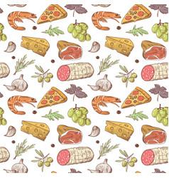italian food seamless pattern hand drawn vector image