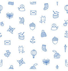 outline kids doodle pattern vector image vector image
