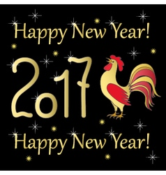 red rooster gold year 2017 on black vector image vector image