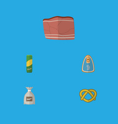 flat icon food set of canned chicken cookie beef vector image vector image