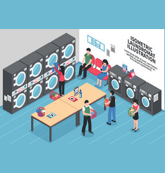 laundry isometric concept vector image vector image
