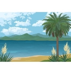 Palm on Ocean Beach Flowers and Mountains vector image vector image