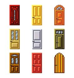 Pixel doors for games icons set vector image vector image