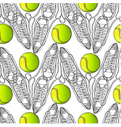 seamless pattern with tennis rackets ball hand vector image vector image