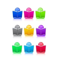 Set of Icon People with Colorful Book Sign vector image vector image