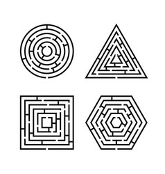 set of labyrinth different shapes for game maze vector image