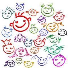 smile face set vector image vector image