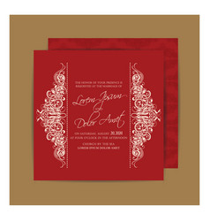 vintage red double sided wedding card vector image