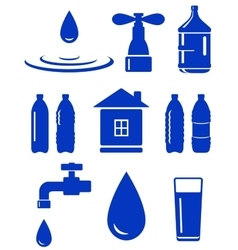 water set of icon with house faucet drop bottle vector image vector image