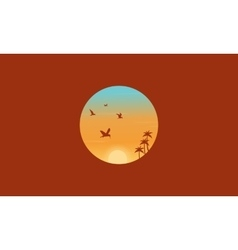 Bird and palm silhouettes landscape vector