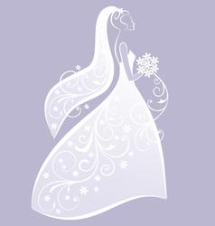 bride in white wedding dress vector image