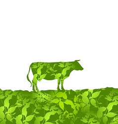 Cow silhouette graze in the field landscape grass vector image