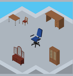 Isometric design set of office cabinet table and vector