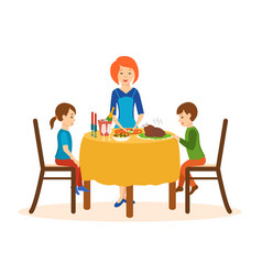 mom cooks on a dinner children sit of the table vector image