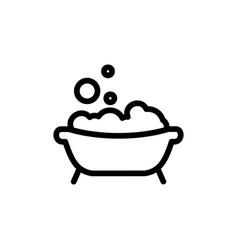 baby bath thin line icon outline symbol bath with vector image vector image