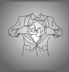 businessman with his wife and child in his chest vector image