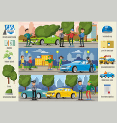 car insurance cases infographic horizontal banners vector image