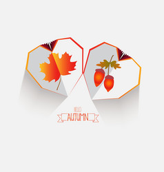 creative paper heart happy autumn leaves vector image