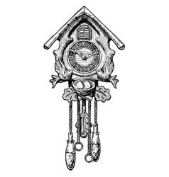old cuckoo clock vector image