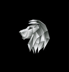 silver metallic lion logo on a black background vector image