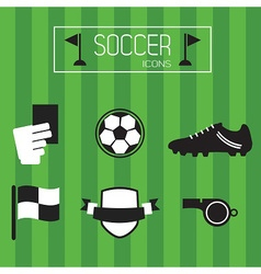 soccer accessories and icons set vector image vector image