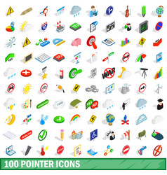 100 pointer icons set isometric 3d style vector image vector image