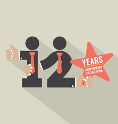 12th Years Anniversary Typography Design vector image
