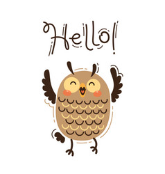 a happy owl greets you hello vector image