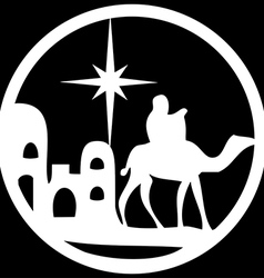 Adoration of the Magi silhouette icon white black vector image